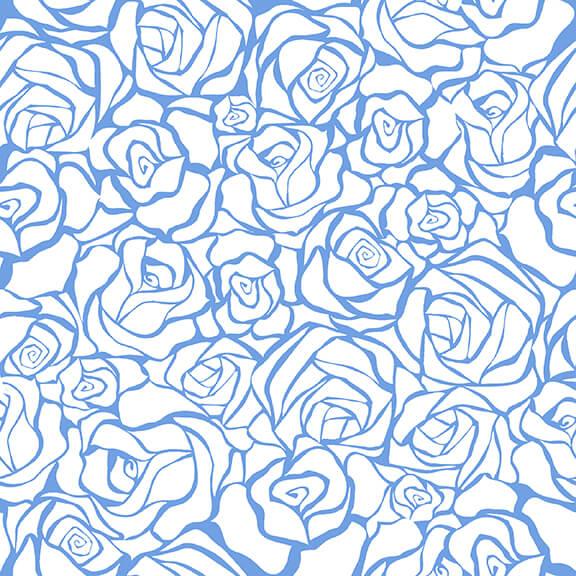 Blue Bayou Roses on White