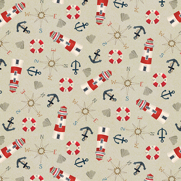 Harbor Days -- 1158-90 Mini Tossed Motifs/Tan