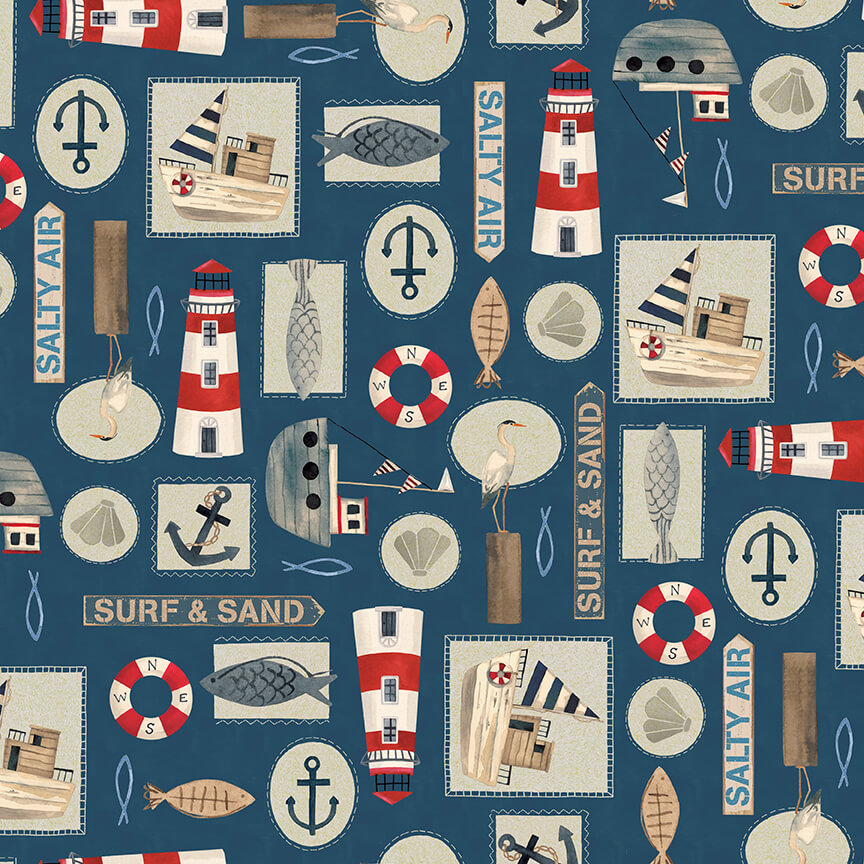 Harbor Days -- 1160-77 Set Nautical Motifs/Navy