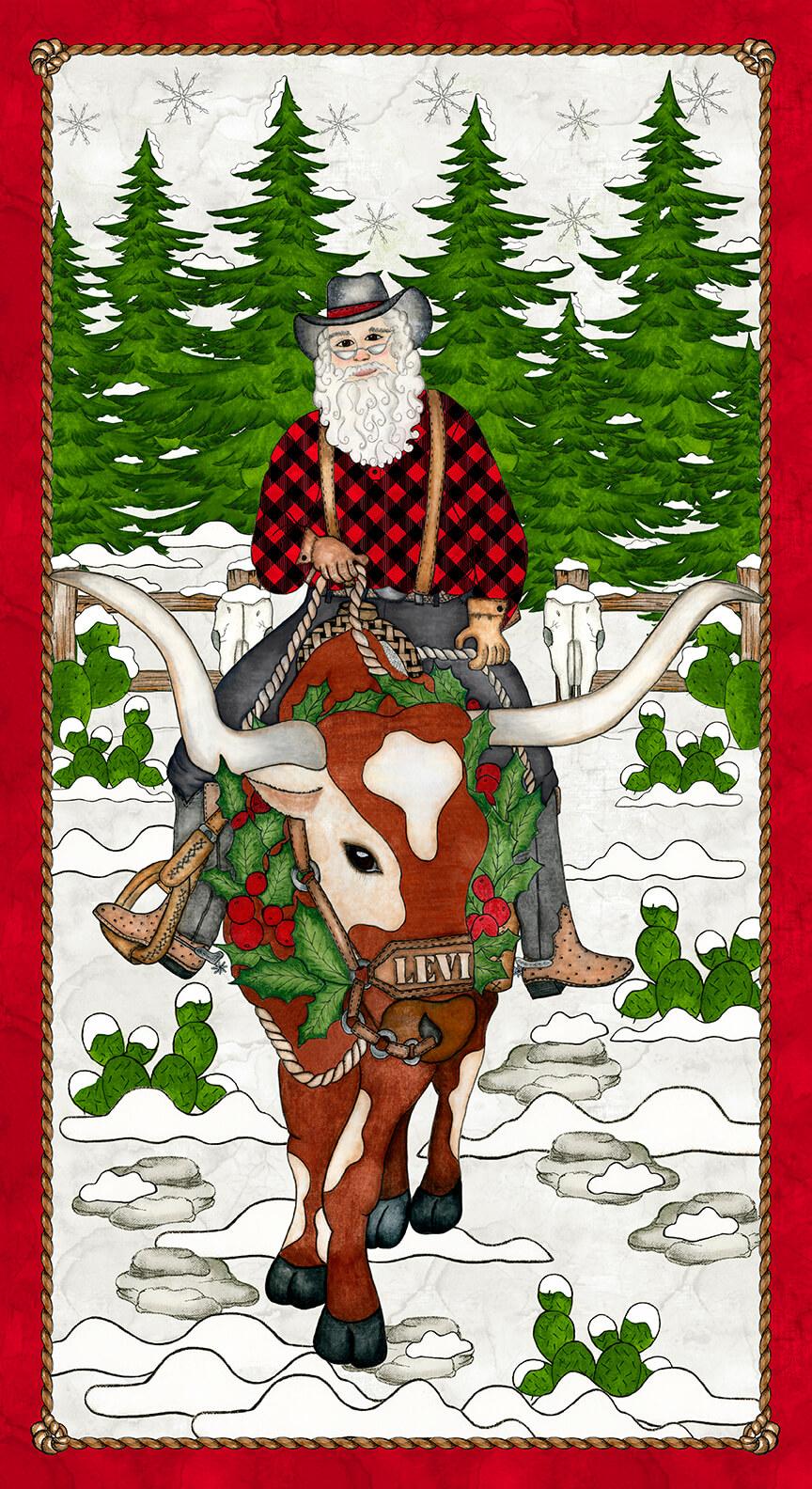 Giddy Up Santa! Santa Panel 23 White 1165P-01