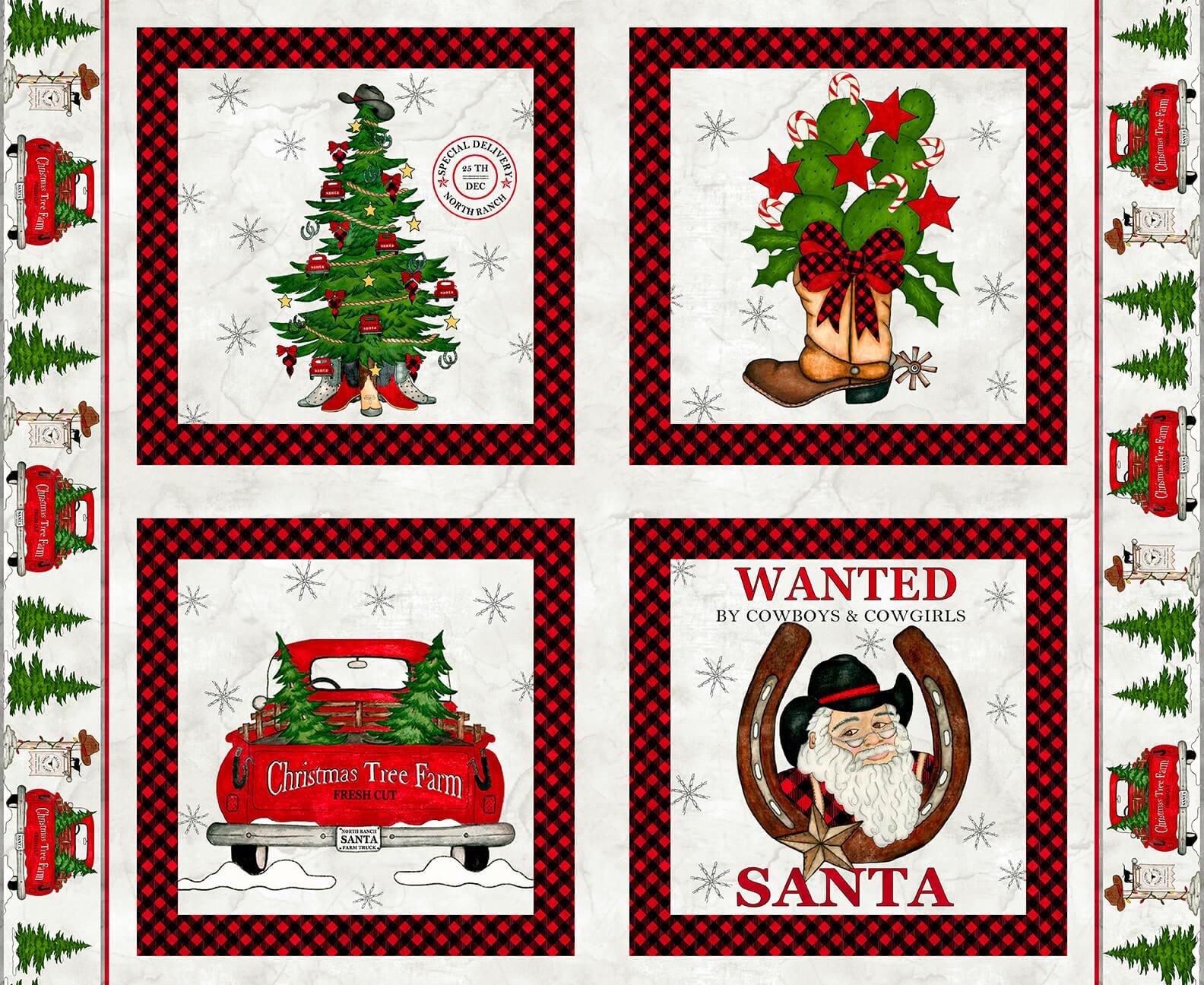 Giddy Up Santa! Pillow Panel 36X 42  1166P-01