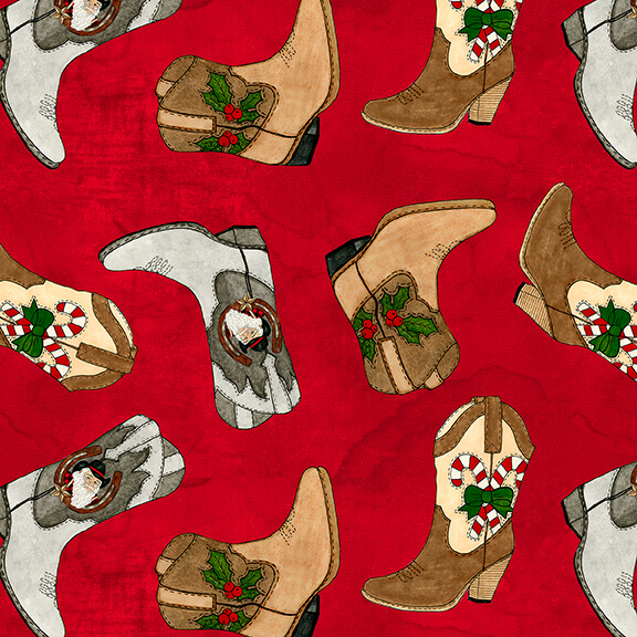 Giddy Up Santa! Tossed Cowboy boots on Red 1175-88
