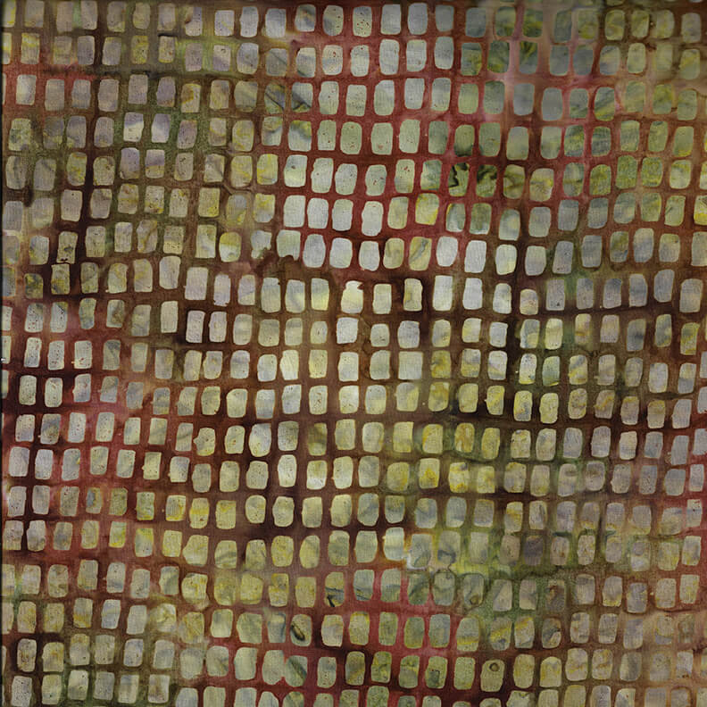 Yellow and Green Squares on Brown Batik:  Murano Batiks by Blank Quilting