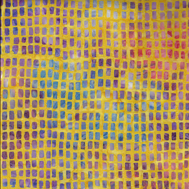 Pink, Purple, and Blue Squares on Yellow Batik:  Murano Batiks by Blank Quilting