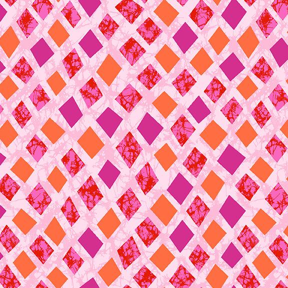 Textured Dark Pink and Orange Diamonds on Light Pink:  Marisol by Blank Quilting