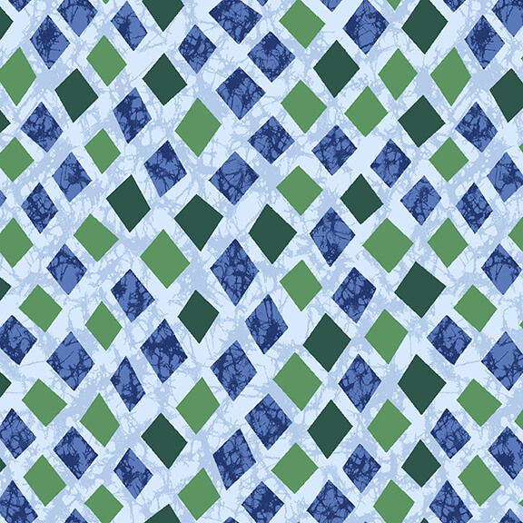 Textured Blue and Green Diamonds on Blue:  Marisol by Blank Quilting