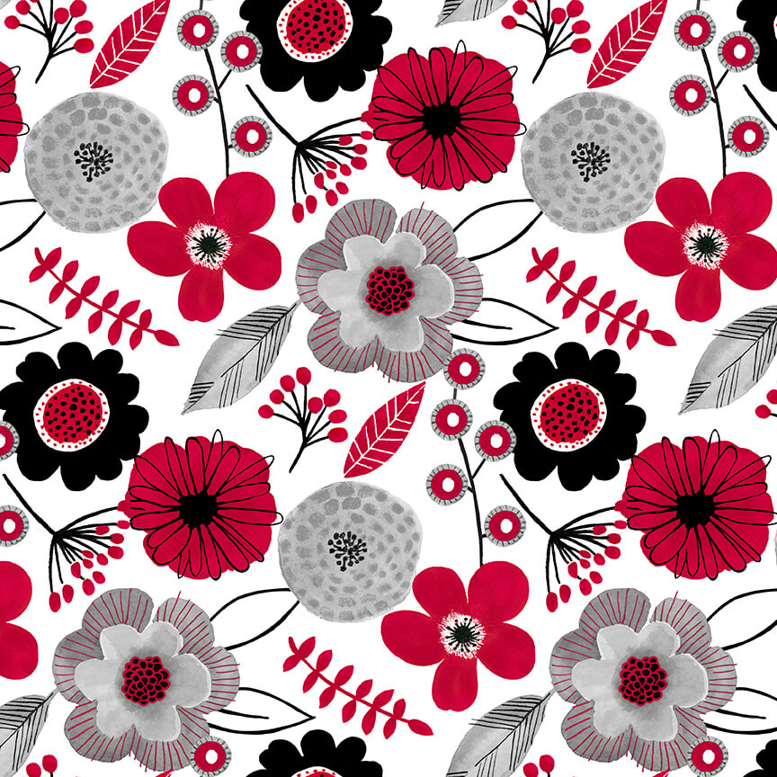 RED ALERT - Large Floral White