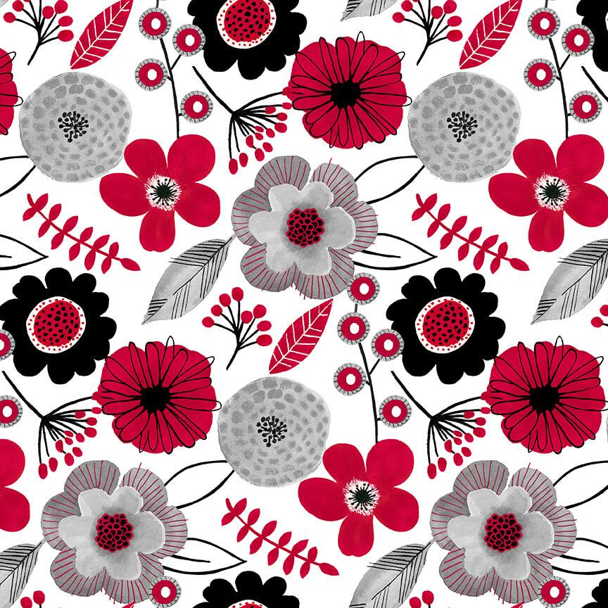 Red Alert Lg. Floral White
