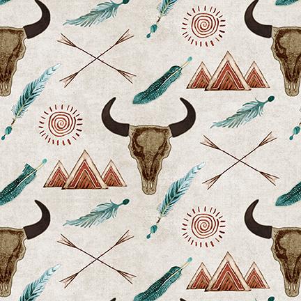 Buffalo Run - Cow Skulls - Ecru