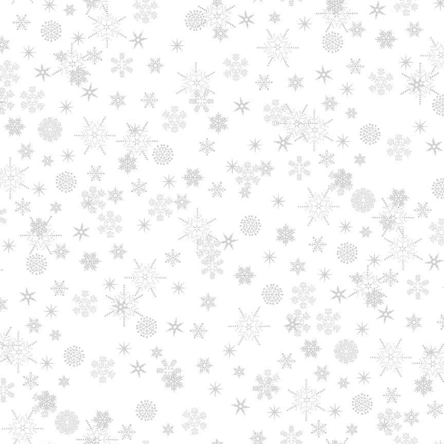 Christmas is Near - Snowflake Silver on White