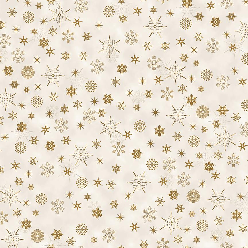 Christmas is Near - Snowflake Gold on Cream