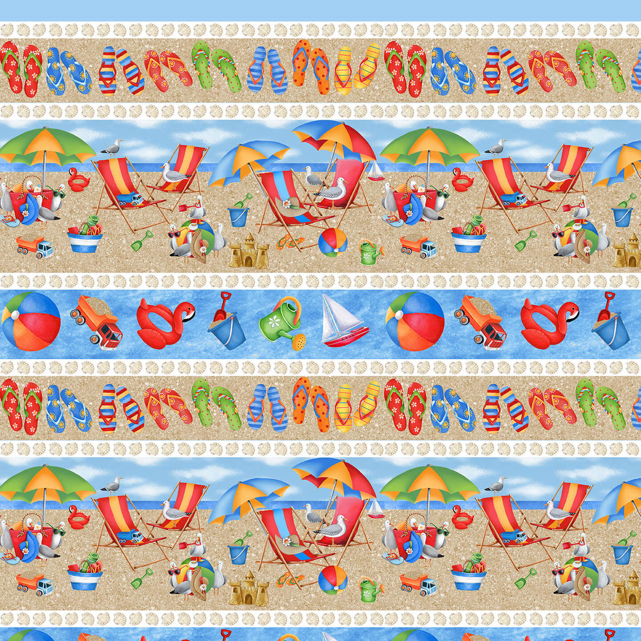 Beach scene border stripe