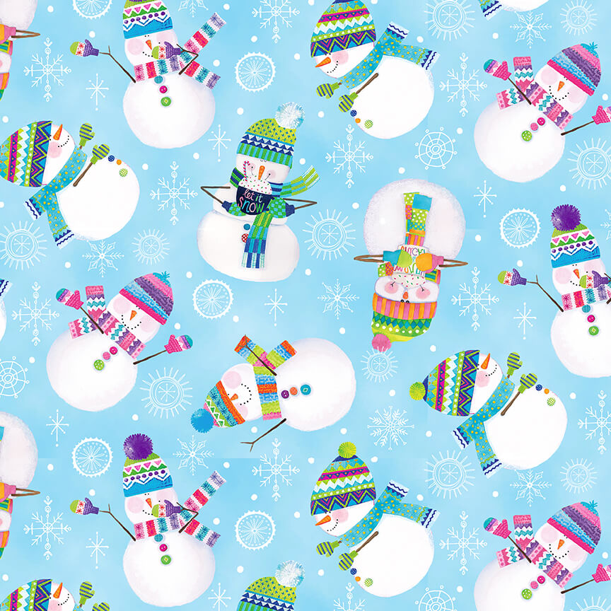 By Golly Get Jolly - Snowman Toss, Light Blue - by Color Pop Studios for Blank Quilting