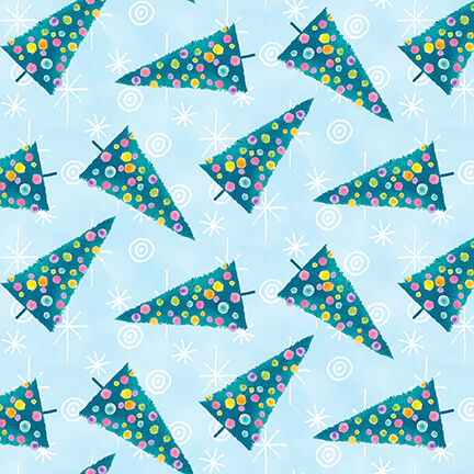 By Golly Get Jolly - Tree Toss, Light Blue - by Color Pop Studios for Blank Quilting