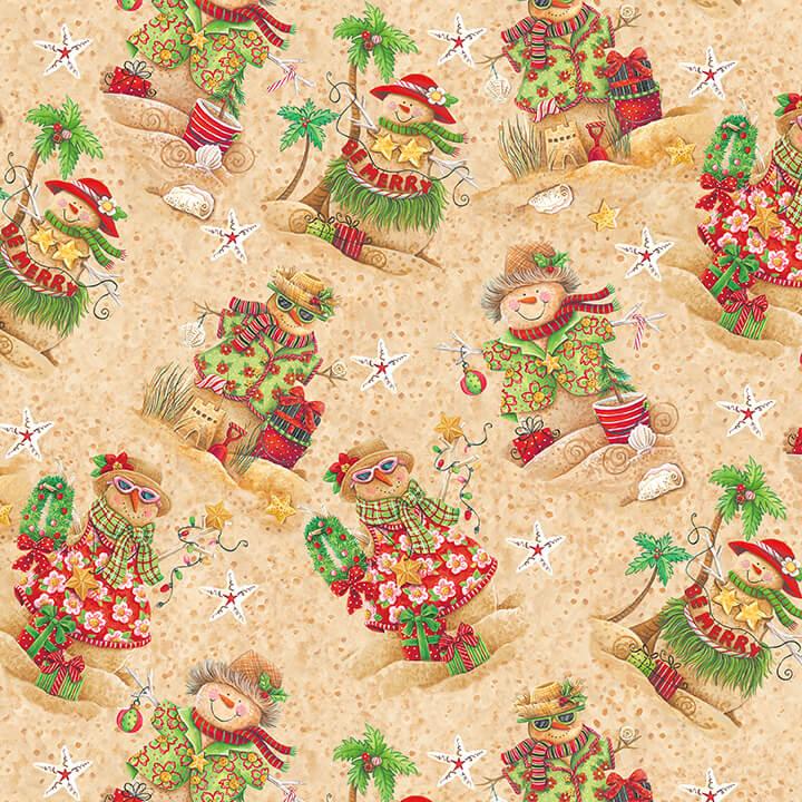 Holiday Beach 9585-35 Snowmen Tan