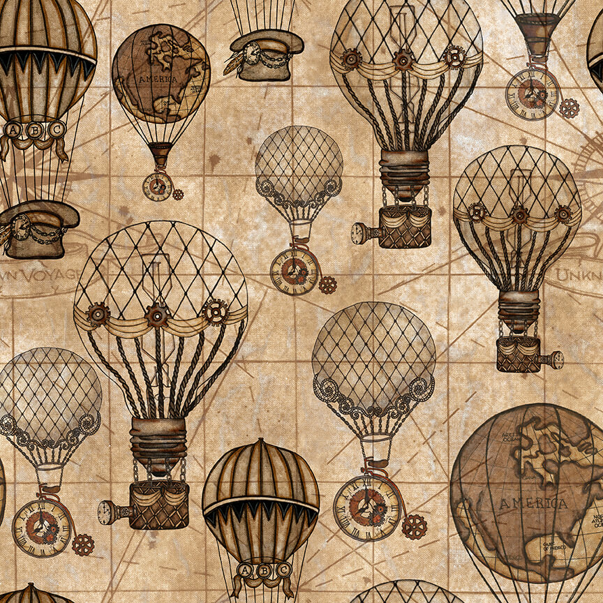 Hot Air Balloons - Unknown Voyage Fabric