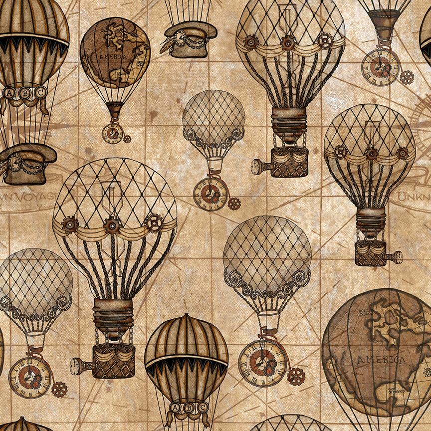Unknown Voyage Hot Air Balloons Tan