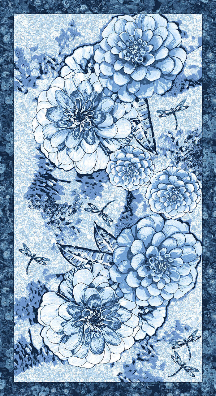 Once in a Blue Mood 9732P-75 Med Chrysanthemum Panel