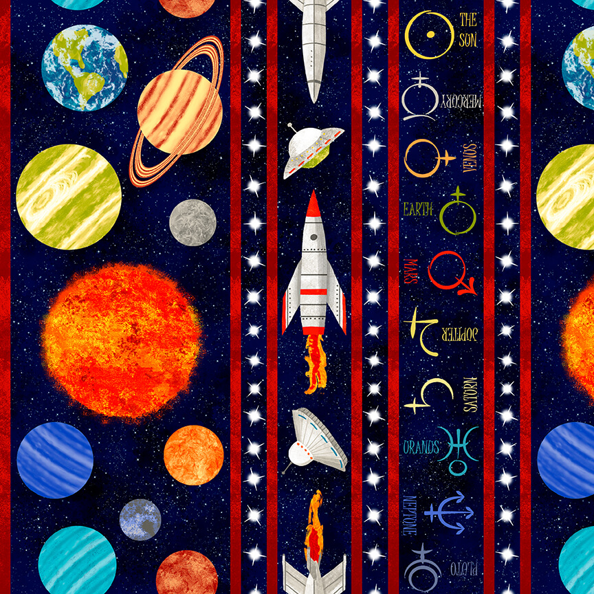 Lost in Space Border Print Black B-9772-99