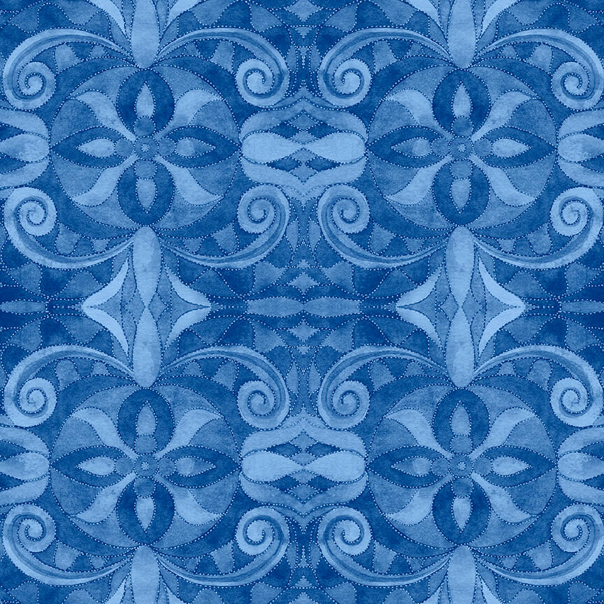 108 Baroque Blue Print Backing