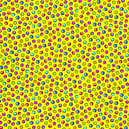 Multi-Colored Dots on Yellow:  Pablo Picatsso by Blank Quilting