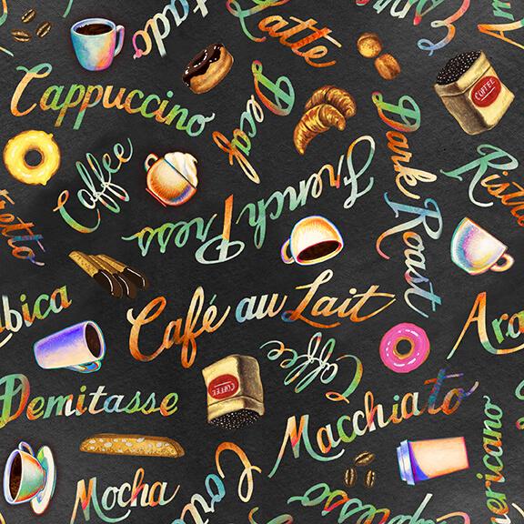 Brewed Awakenings Coffee Words 9822-98 Charcoal