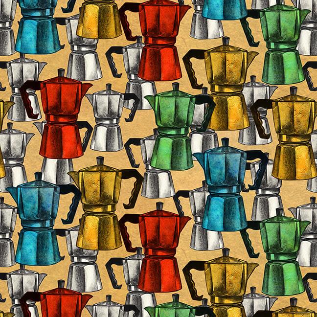 Brewed Awakenings Vintage Coffee Pots on Tan