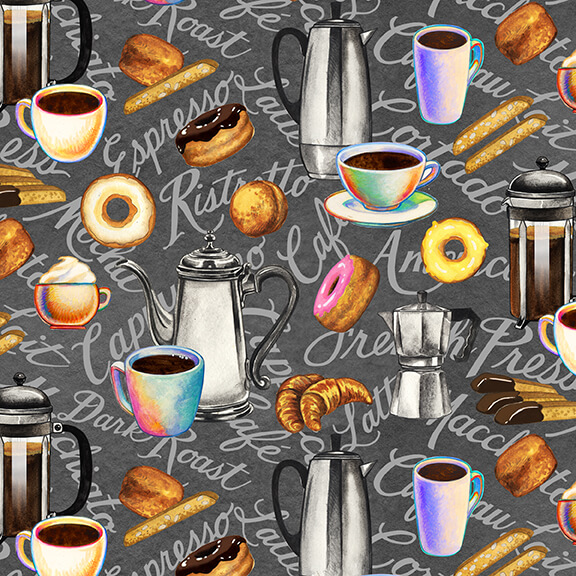 Brewed Awakenings Coffee and Donuts Theme on Gray