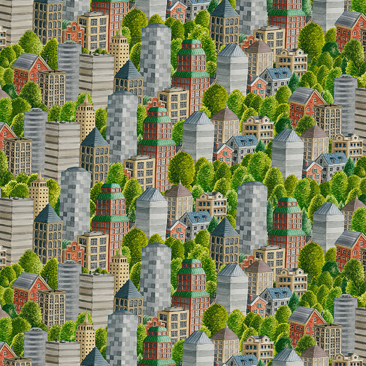 Going Places Skyscrapers Fabric by the Yard