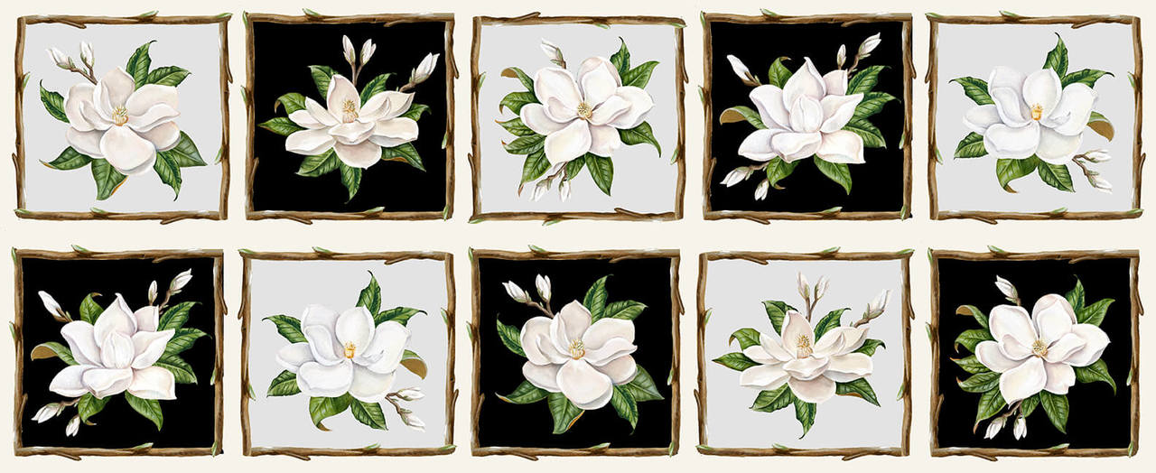Magnolia Mania Panel - 4 strips of 8 Squares