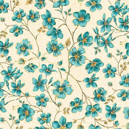 Peacock Pavillion - Blue Flowers on Ivory
