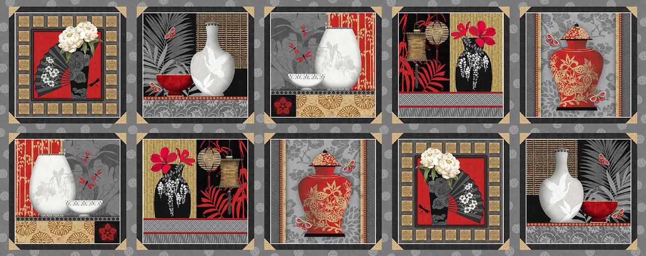 Narumi Panel - 9926-95 Gray--Blocks with Vases