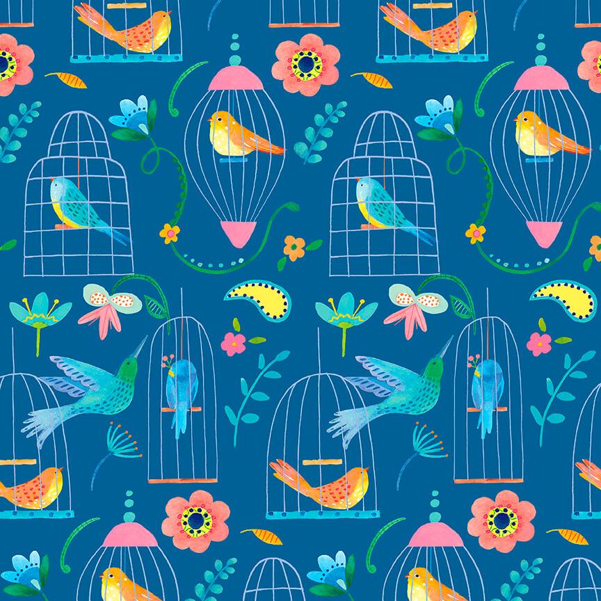 Blank Quilting Florabelle Med. Blue Birds in Bird Cages