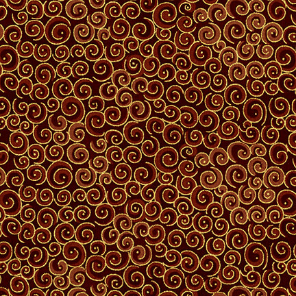 Fabric-Blank Spirals Metallic Brown