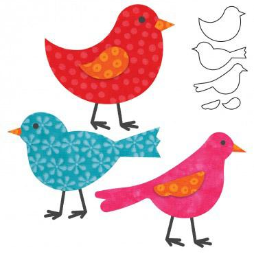 AccuQuilt GO! Birds This die cuts three different birds and two wings