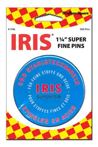 Blue tin Iris Swiss Pin 500ct