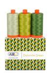 Aurifil Color Builder - 50 wt. Dolomites Green 3piece set (2908, 1147, 2890) 1300 m. each