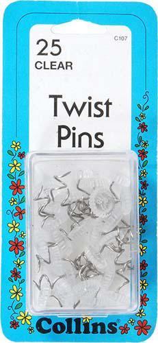 Twist Pins Clear 25 Ct