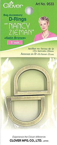 Clover D Rings 1  2ct Satin Bronze by Nancy Zieman