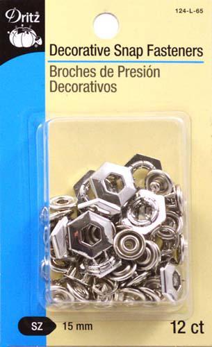 Deco Snap Fasteners 15mm Nickel - 124L65