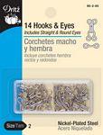 14 Hooks & Eyes Nickel Plated 90-2-65 2