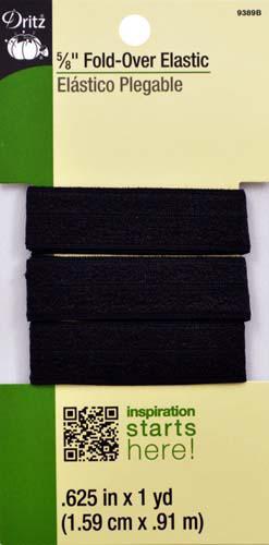 Black Fold-Over Elastic-5/8