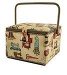 Dritz Sewing Basket Large Square Tan Sew Motif