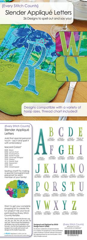Every Stitch Counts Slender Applique Letters
