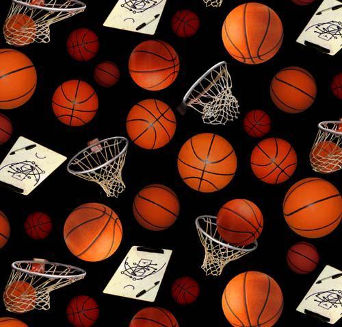 Basketballs & Baskets on Black