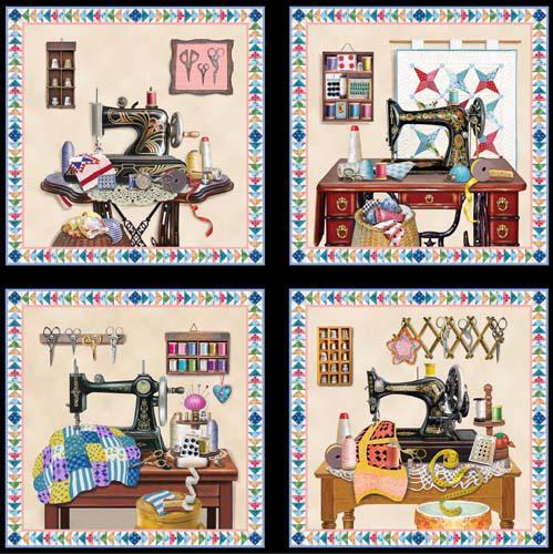 A Stitch in Time-Block Panel, Black Fab:A Stitch in Time-Block Panel, Black