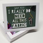 FUNNY QUILTING THEME NOTECARDS - 8 PACK