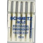 $5.99 p/Pk of 5 Gold Titanium Emb. Needle Gold-75 75/11