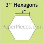 Hexagon Paper Pieces 3in -25 Per Package