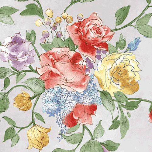 Bouquet Splendor large floral on pale blue